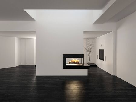 rendering: Large unfurnished empty open plan living room interior with white walls, wood floor and a fire burning in a central chimney below a skylight in a 3d render