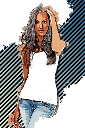 Painting of a trendy slender attractive young woman in casual jeans and t-shirt in an elegant pose over a diagonal striped background on white