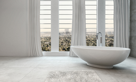 modern bathroom: Elegant modern white bathroom interior with a boat-shaped freestanding tub in front of tall windows overlooking the city, long drapes and floor tiles in a 3d render