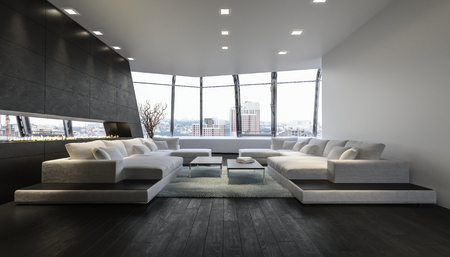 penthouse: A luxurious modern penthouse lounge room with expansive city views from an open glass balcony.