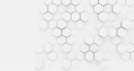 Abstract background texture with a white dimensional hexagonal pattern with faded or obscured areas giving a vintage effect in a wide angle view 写真素材