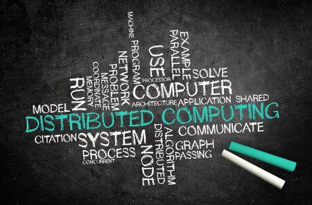 concurrent: Distributed Computing. Handwriten on a blackboard