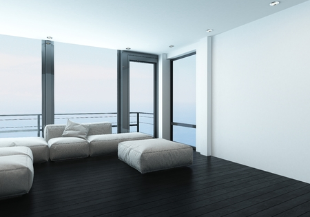 Comfortable corner in a modern living room with a modular sofa or window bench in front of scenic large windows overlooking mountains in a 3d render