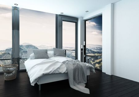 Modern bedroom with wide windows and scenic view