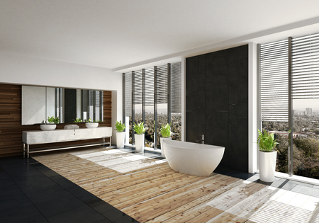 Modern bathroom with feature black wall and boat shaped tub flanked by large view windows with blinds. Double vanity over a light wood floor. 3d render