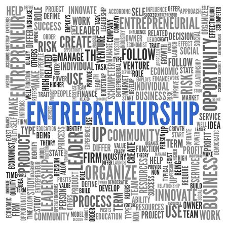 ENTREPRENEURSHIP poster word cloud concept with central large blue text surrounded by multiple related keywords