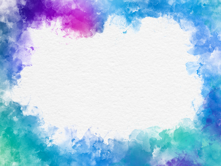 Artistic blue and pink watercolor splash effect template on white background, designed as a frame with copyspace