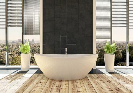 Elegant bathtub in modern bright bathroom with cityscape behind windows