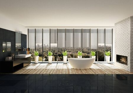 Bathtub with houseplants against large windows in modern spacious bathroom Lizenzfreie Bilder