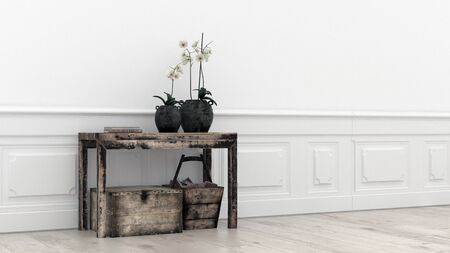 Old grunge rustic wooden table, plat and crate in an eclectic modern minimalist room interior with wood paneling and white walls in a wide angle format with copy space. 3d Rendering.