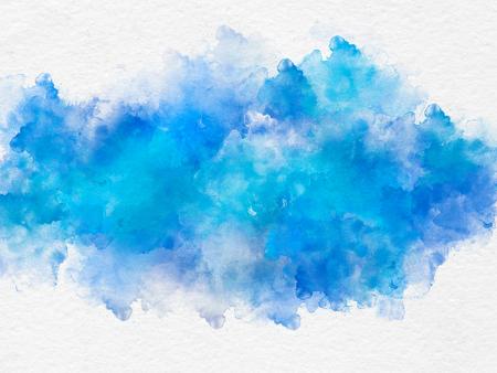 白い背景の上の芸術的な青い水彩画スプラッシュ効果テンプレート