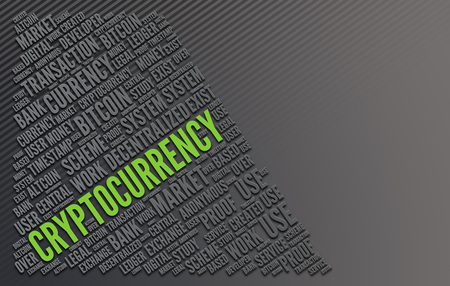 The word Cryptocurrency highlighted in fluorescent green writing amongst a series of other words in a word collage with grey copy space. 3d Rendering. Lizenzfreie Bilder