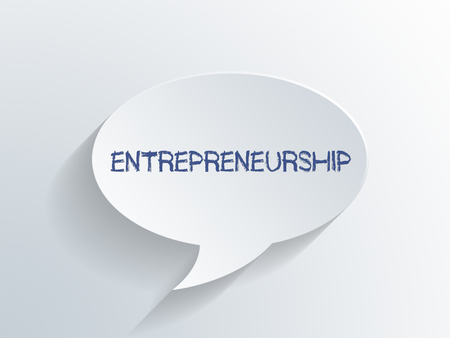 Entrepreneuship concept with a dimensional paper speech bubble with handwritten text over a light grey gradient background. 3d Rendering.