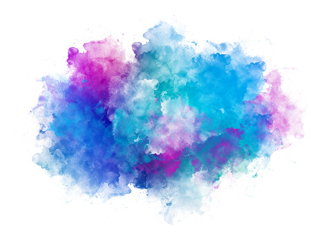 Artistic blue and pink watercolor splash effect template on white background
