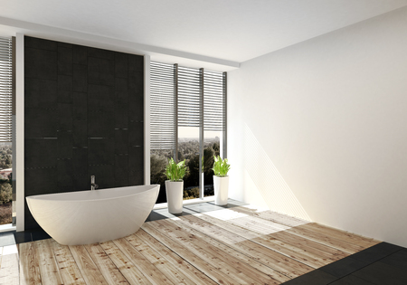 Modern luxury bathroom with light wood floor and a freestanding bathtub flanked by large windows with blinds. 3d rendering. Lizenzfreie Bilder