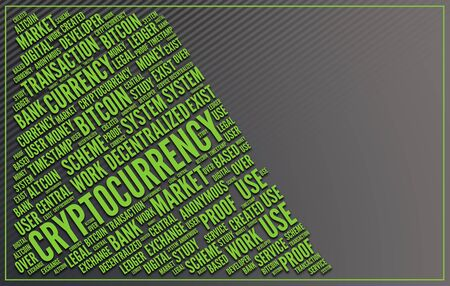 A word collage in fluorescent green writing highlighting and based around the word Cryptocurrency with grey background and copy space. 3d Rendering.