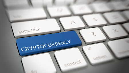 Crypocurrency concept with a blue key on a computer keyboard with the text in white. 3d Rendering. Lizenzfreie Bilder