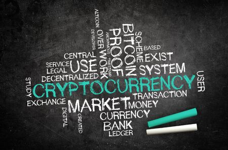 Cryptocurreny concept with a word cloud covering related keywords surrounding the central handwritten chalk word on a blackboard