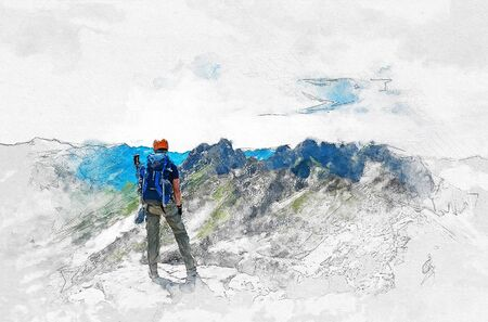 Artistic fine art portrait of a mountain climber standing on a plateau or summit looking out over alpine scenery with white vignette and sketch detail Lizenzfreie Bilder