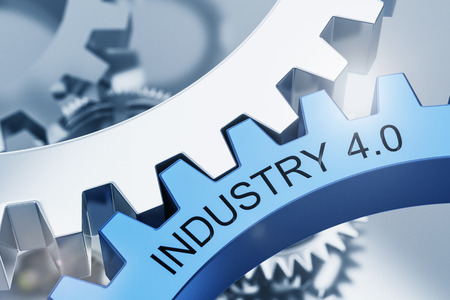 Industry 4.0 concept with meshed gear or cog wheels and text showcasing the revolutionary cyber-physical manufacturing and engineering computing process Stockfoto