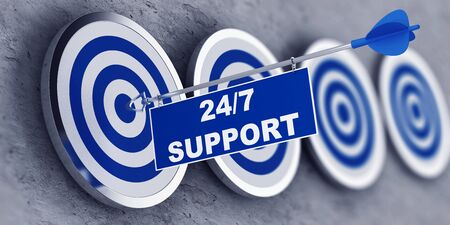 247 business support concept with a tag with text attached to an arrow centered in the bulls eye of the first target in a receding row. 3d Rendering.