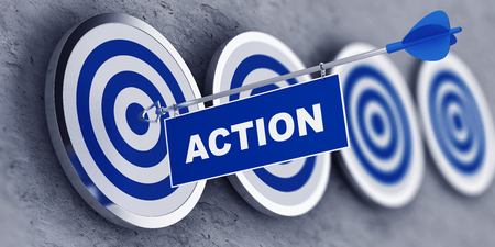 Action concept with target and arrow for success in business concept with a tag with text attached to an arrow in the bulls eye of the first target in a receding row. 3d Rendering. Lizenzfreie Bilder