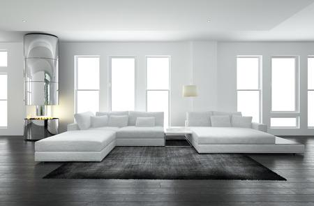 Luxury white living room interior with fireplace. 3d Rendering. Lizenzfreie Bilder