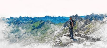 Panorama banner of a mountaineer standing on a summit of a mountain surveying the rugged peaks and valley below