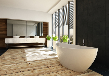 Very spacious luxury bathroom interior with a freestanding boat shaped tub on a light wood floor and double wall mounted vanity in the background. 3d render Lizenzfreie Bilder