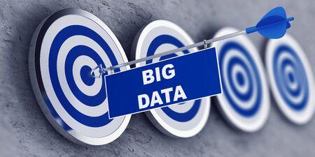 Big Data und Business oder Industrial Erfolg Konzept mit blauem Tag mit Text an einen Pfeil zentriert in der Bullen Auge des ersten Ziels in einer zurückgehenden Zeile befestigt. 3d Rendering Lizenzfreie Bilder