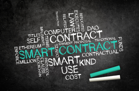 Smart Contract. Writen on a blackboard Stock Photo