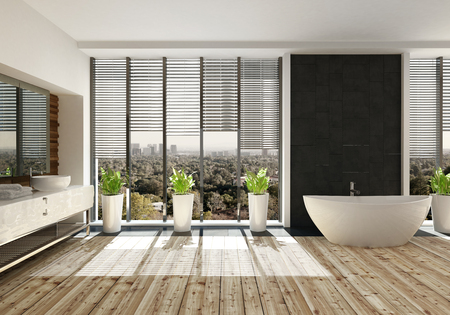 Modernes, sonnendes Bad mit minimalistischem Design mit einer bootförmigen Wanne auf einem hellen Holzfußboden und Topfpflanzen vor den deckenhohen Fenstern mit Jalousien mit Blick auf die Landschaft. 3d render