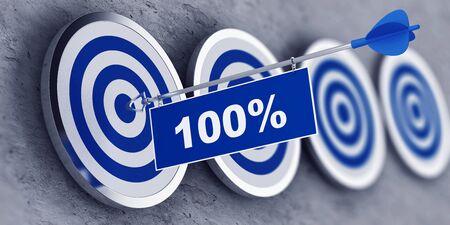 100 Prozent Bullen Auge Ziel Konzept mit einem Pfeil in der Mitte eines blauen und weißen Ziel mit hängenden Flagge und Text für Business-und Service-Konzepte. 3d Rendering