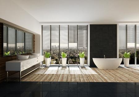 Geräumiges Badezimmer mit stilvollem Dekor, hellem Holzboden, großer doppelter Eitelkeit, ovaler Badewanne und Topfpflanzen vor Sichtfenster. 3d render