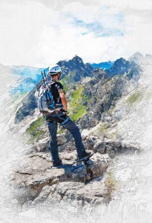 Künstlerische schöne Kunst Porträt eines Bergsteigers auf einem Plateau oder Gipfel Blick auf alpine Landschaft mit weißen Vignette und Skizze Detail