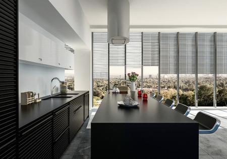 Stilvolle offene schwarze und weiße Einbauküche mit Geräten und Bartheke mit Hockern mit Blick auf große Fenster mit Blick auf eine grüne grüne Stadt. 3d render