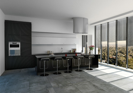 Spacious modern monochromatic black and white fitted kitchen with bar counter and stools with floor to ceiling windows fitted with blinds and tiled floor. 3d rendering. Lizenzfreie Bilder
