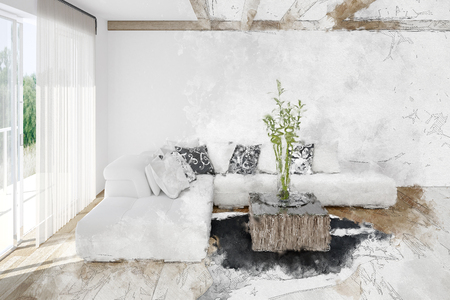 Textured fine art bright white living room interior with modular sofa and animal hide on the wooden floor. 3d render Lizenzfreie Bilder
