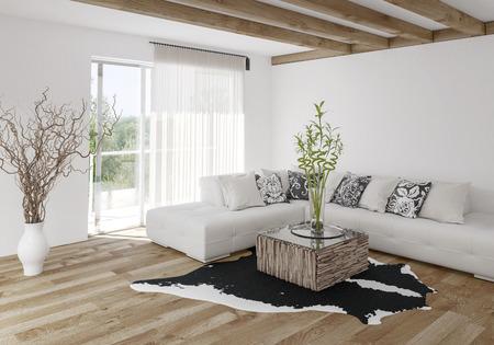 Modernes, luftiges, helles, stilvolles Wohnzimmer mit Holzbalken und hellem Hartholzboden mit weißem modularem Sofa, Tierhautteppich und Topfpflanzen. 3d render Lizenzfreie Bilder