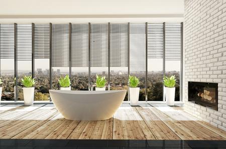 Stilvolles, helles, sonniges, minimalistisches Bad mit Topfpflanzen vor der Boden- und Deckenansicht Fenster und eine bootförmige Wanne auf einem leichten Parkettboden. 3d render