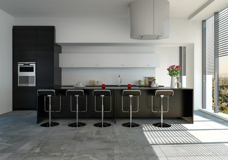 Modern fitted kitchen with black bar counter and stools and built in appliances with sunlight pouring in through large view windows with blinds. 3d render