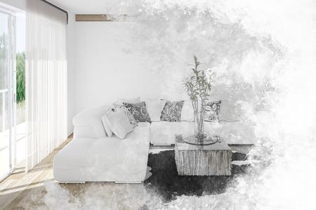 Kunst strukturierte Skizze eines hellen frischen weißen Wohnzimmer Innenraum mit Vorhang Boden bis zur Decke Fenster und Topfpflanze über einem Tier verstecken Teppich. 3d render