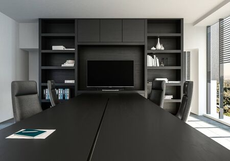 Stylish monochrome office with black decor viewed along a conference table with swivel chairs leading to a shelving unit with display monitor. 3d render