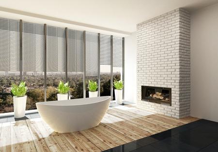 Luxus-Bad mit Feuer-Einsatz in einem Merkmal weiße Mauer und Sonnenschein gießen in durch große Ansicht Fenster auf eine ovale Wanne. 3d render
