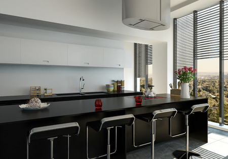 3d rendered stylish modern black bar counter in a fitted kitchen with floor to ceiling windows and blinds
