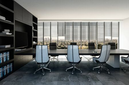 Stylish modern business boardroom interior with black and grey decor and molded swivel chairs overlooking view windows. 3d render