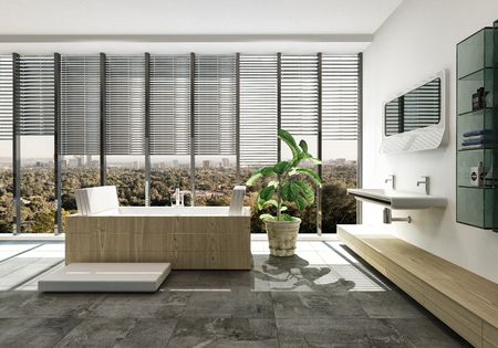 Elegant luxury bathroom interior with designer rectangular bathtub and wall mounted vanity over a tiled floor with potted plant and large windows. 3d render