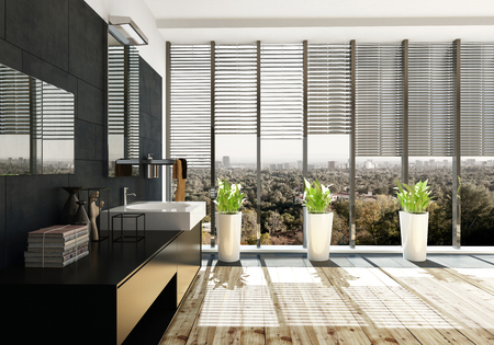 Spacious modern black bathroom interior with large vanity unit with mirrors and plants in front of floor to ceiling windows with blinds and sunlight. 3d render