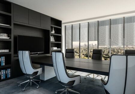 Elegant boardroom interior with modern swivel chairs around a black table built in to a wall unit with shelves and monitor. 3d render Lizenzfreie Bilder