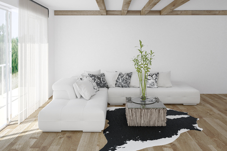 Modern cozy bright white living room with an animal skin on a light hardwood floor with large sunlit windows. 3d render